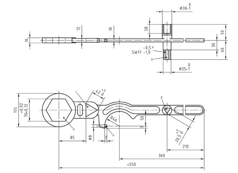 DIN 3223: Betätigungsschlüssel B Zeichnung