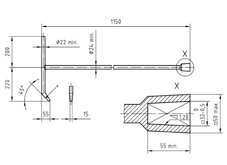 DIN 3223: Betätigungsschlüssel C Zeichnung