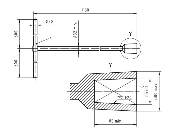 DIN 3223: Betätigungsschlüssel D Zeichnung