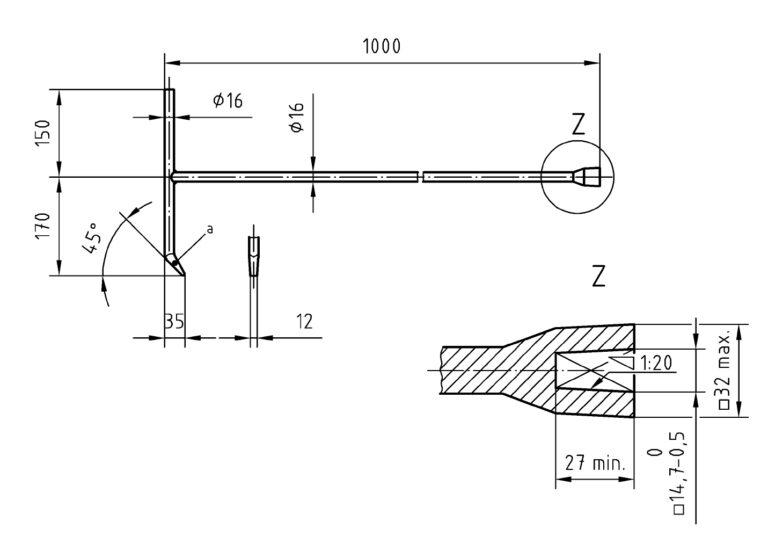 DIN 3223: Betätigungsschlüssel E Zeichnung